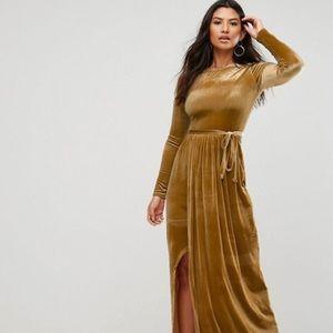 Asos Club L size 4 velvet maxi dress long sleeve